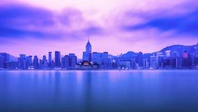Hong Kong city view from Kowloon at dawn. Hong Kong Royalty Free Stock Photo