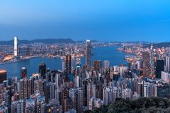 Hong Kong city view from the Peak Royalty Free Stock Photo