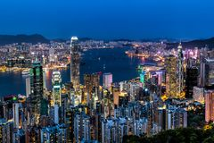 Hong Kong city view from the Peak Royalty Free Stock Image