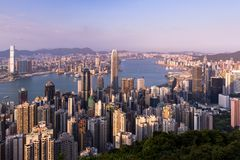 Hong Kong city view from the Peak Stock Photography