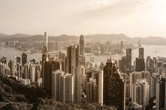 Hong Kong city view at sunrise from Victoria Peak Royalty Free Stock Photo