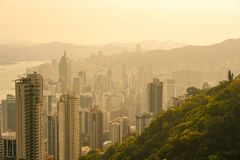 Hong Kong city view at sunrise from Victoria Peak Stock Image
