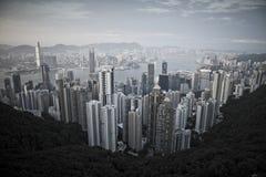 Hong Kong City. View from Victoria Peak looking north towards Victoria Harbour and Kowloon, Hong Kong Stock Photo