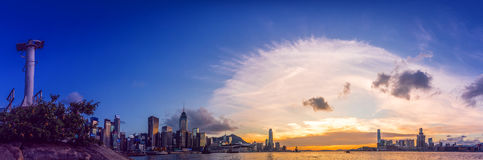 Hong Kong City in vista la vista aerea Fotografie Stock