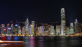 Hong Kong Cityscape At Night, Beautiful Scene Royalty Free Stock Photos