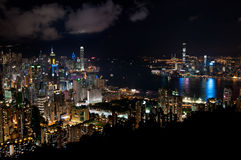Hong Kong-cityscape bij nacht Stock Afbeeldingen
