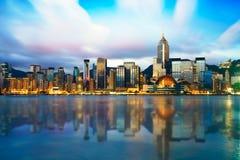 Hong Kong-cityscape, de scène van de Zonsopgangschemering Stock Foto