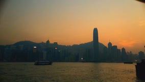 Hong Kong cityscape and harbor from Hong Kong Island stock video