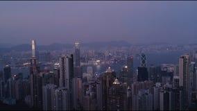 Hong Kong cityscape and harbor from Hong Kong Island stock footage