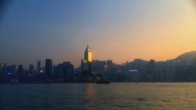 Hong Kong cityscape and harbor from Hong Kong Island stock video footage