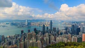 Hong Kong Cityscape High Viewpoint van de Piektijdtijdspanne stock videobeelden