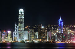 Hong Kong Cityscape at Night. Royalty Free Stock Images