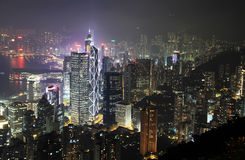 Hong Kong Cityscape at Night Stock Photo