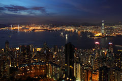 Hong Kong cityscape at night Stock Images