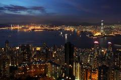 Hong Kong cityscape at night Stock Images