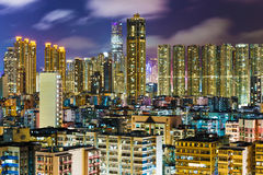 Hong Kong cityscape at night Royalty Free Stock Images