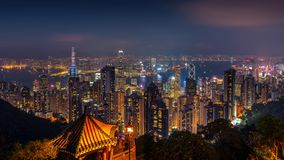 Hong Kong cityscape at night from the Victoria peak royalty free stock photo
