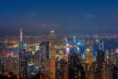 Hong Kong cityscape at night from the Victoria peak royalty free stock photography