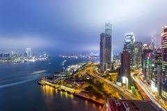 Hong Kong cityscape at night Stock Photos