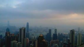 Hong Kong cityscape och hamn från Hong Kong Island arkivfilmer