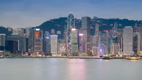 Hong Kong cityscape skyline waterfront view after sunset Royalty Free Stock Image