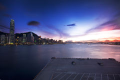 Hong Kong cityscape in sunset Royalty Free Stock Photos