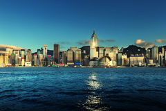 Hong Kong cityscape at sunset Stock Photo