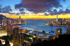 Hong Kong cityscape at sunset Stock Image
