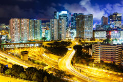 Hong Kong cityscape and traffic trail Royalty Free Stock Photography
