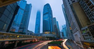 Hong Kong cityscape at twilight, Business downtown, Morning scene and the mist.  royalty free stock photo