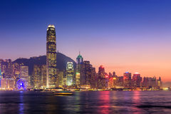 Hong Kong cityscape at twilight, Victoria harbour view Stock Photos