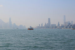 Hong Kong cityscape with victoria harbour and large group of tal Royalty Free Stock Photo