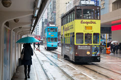 Hong Kong cityscape view with double-deck electric tram Royalty Free Stock Photography