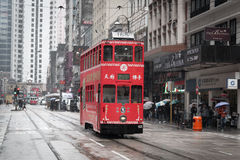 Hong Kong cityscape view with double-deck electric tram Stock Photos