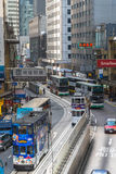Hong Kong cityscape view with famous trams and buses at Wan Chai Stock Image