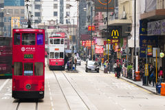 Hong Kong cityscape view with famous trams at Wan Chai Stock Photography