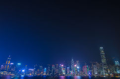 Hong Kong cityscape waterfront over Victoria harbor. Royalty Free Stock Image