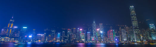 Hong Kong cityscape waterfront over Victoria harbor, Stock Images