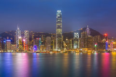 Hong Kong cityscape waterfront over Victoria harbor Royalty Free Stock Photos