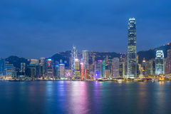 Hong Kong cityscape waterfront over Victoria harbou Royalty Free Stock Photo