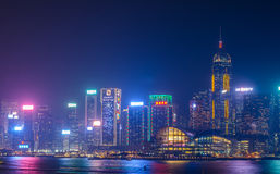 Hong Kong-cityscape waterkant over Victoria-haven Royalty-vrije Stock Foto