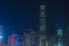 Hong Kong-cityscape waterkant over Victoria-haven Stock Afbeeldingen