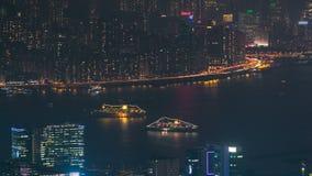 Hong Kong cityscapehorisont från för Kowloon för Fei NGO-shan timelapse för natt maximum stock video