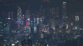 Hong Kong cityscapehorisont från för Kowloon för Fei NGO-shan timelapse för natt maximum lager videofilmer