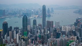 Hong Kong cityscapehorisont med gränsmärkebyggnader i schackningsperiod för Hong Kong stadstid lager videofilmer