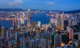 Hong Kong cityview. Cityscape of the city of Hong Kong in summer at sunset Royalty Free Stock Photography