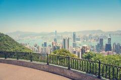 Hong Kong, ciudad y la bahía de Victoria Peak foto de archivo libre de regalías