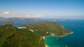 Hong Kong Clear Water Bay and Po Toi O Drone View. Sunny Stock Photos