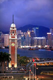Hong Kong Clock Tower Harbor Night Royalty Free Stock Photos