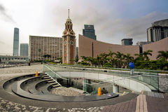 Hong Kong clock tower. And modern building of Opera and contemporary art museum Royalty Free Stock Image